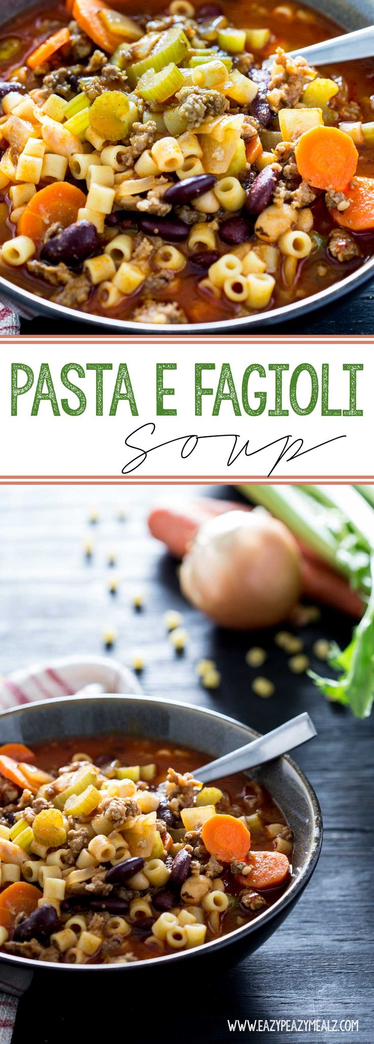 Pasta E Fagioli (Soup) is a hearty Italian soup with sausage, pasta ...