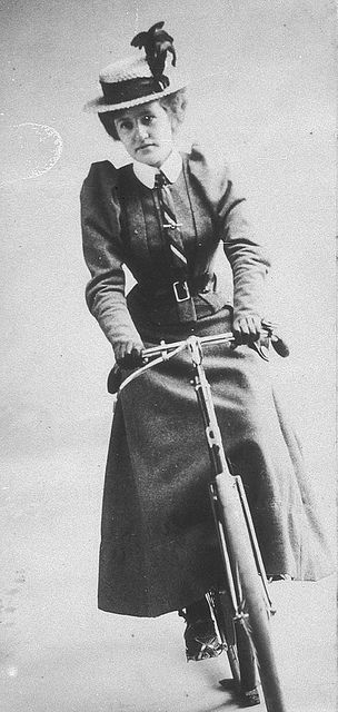 Studio photograph of Annie Dawson Wallace seated on a bicycle - Sydney, New South Wales, 1899 (via brainpickings.org – Stunning Vintage Photos of Early 1900s Australian Bike Culture)