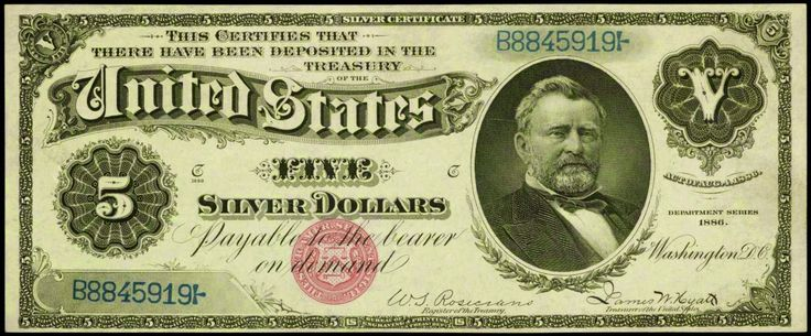 """Paper Money of the United States: 1886 Five Dollar Silver Certificate """"Morgan Silver Dollar Back"""" Small Red Seal  Bust of Ulysses S. Grant, 18th President of the United States,1869-1873."""