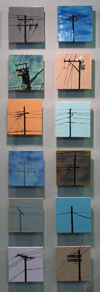 Urban Sentinels - hand-painted telephone pole ceramic tile art mural by JasonMessingerArt.com