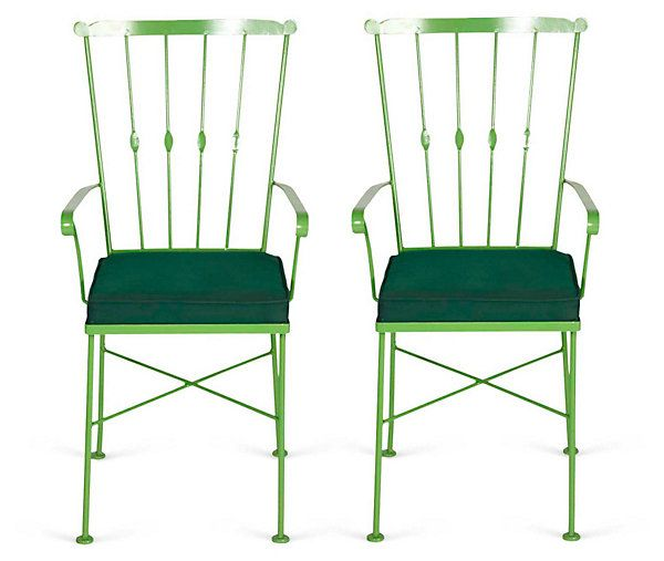 One Kings Lane - Think Spring - Green Outdoor Dining Chairs on onekingslane.com/shop /madcapcottage