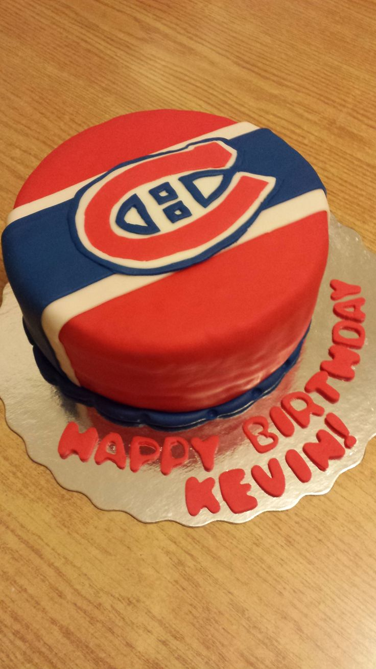 Montreal Canadian Habs logo, hockey spirit, custom cake hand cut and designed