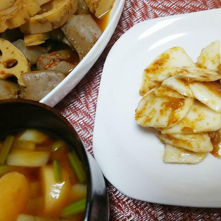 かぶ梅和えれんこんとこんにゃくのゴマ煮物かぶの葉味噌汁おいしい