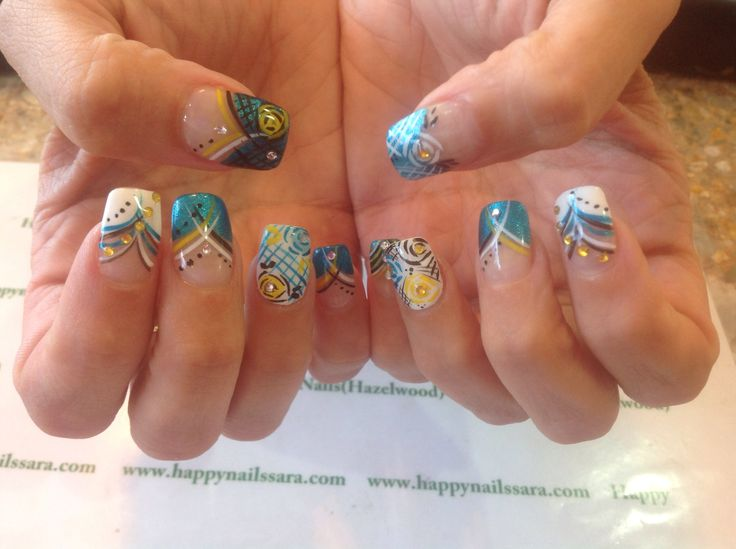 #nail #art #design #yellow #blue #black #white #stripes #flowers #happynails #diamonds #happynails  We specialise in nail art designs and amazing pedicures!!!! Come into Happy Nails TODAY!!!  We accept Walk-Ins!!!!  314-731-1755 6821 Howdershell Rd  Hazelwood,MO 63042   Come and be happy at Happy Nails