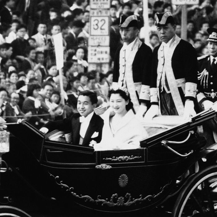 Emperor Akihito and Empress Michiko of Japan  THEN: Crown Prince Akihito of Japan wed Michiko Shoda at Tokyo Imperial Palace on April 10, 1959. The 24-year-old bride, the daughter of a wealthy businessman, was the first commoner to marry into the Japanese royal family. Here the newlyweds are seen riding in an open-top carriage through the streets of the city on their wedding day.