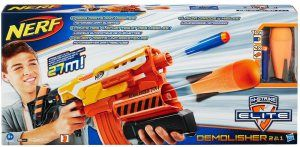 Nerf Elite 2-in-1 DemolisherGives you the choice of firing  both darts or missiles up to distance of 90 feet.  It features dual launchers – A motorized blaster for the darts and pump-action launcher for the missile.  It comes  with an orange banana clip in which 10-darts are loaded. A missile is loaded into the barrel of the missile launcher.  The motor is powered up by  the acceleration trigger . To fire a dart just pull the launch trigger.