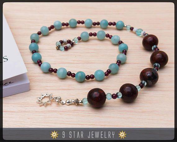 Blood Stone & Amazonite w/925 Sterling Silver bahai 9 Star - 5x19 Baha'i Prayer Beads