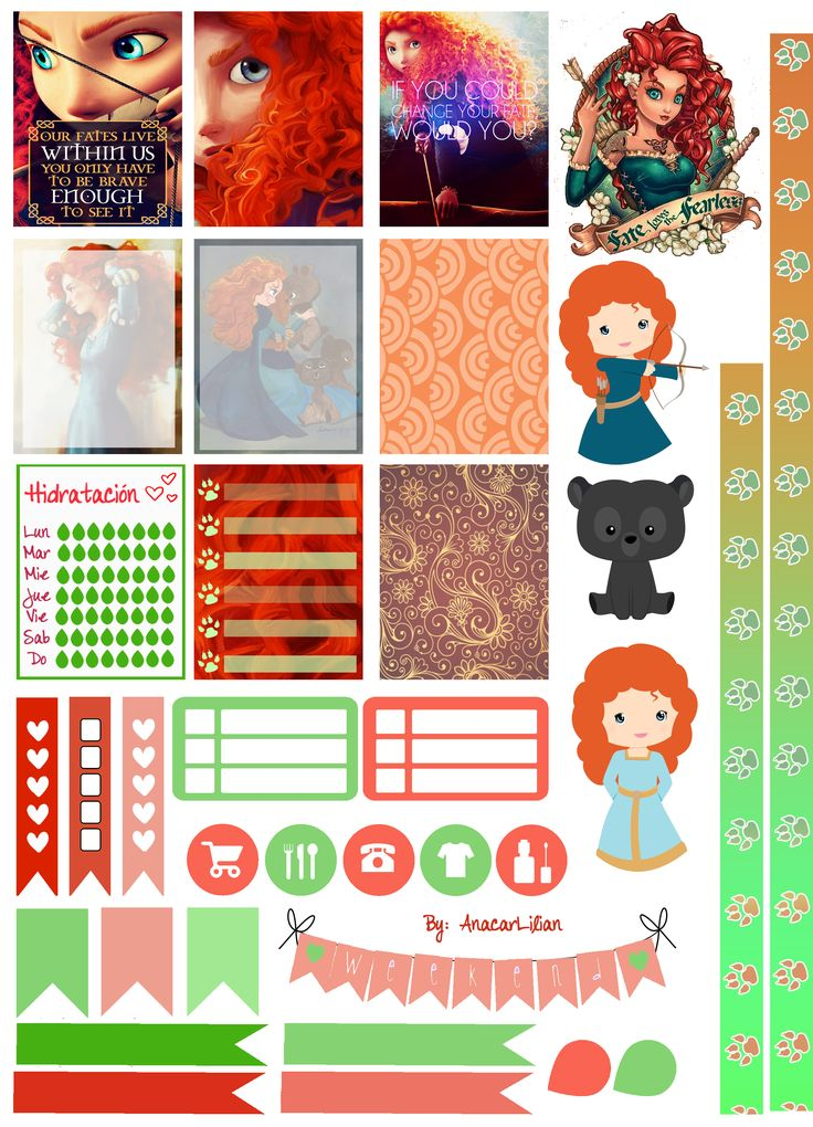I Love Meridaaaa!!! <3 I made this collection of printable stickers for planners from images of Pinterest and another web-sites! Feel free to use it in your planners! Hope you like it! ;)