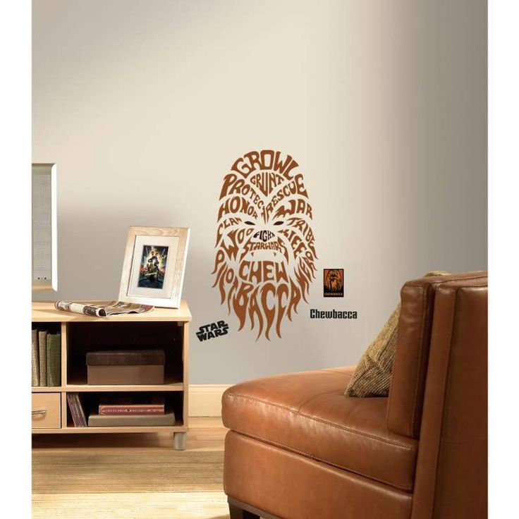 This uniquely styled typographic wall decal of chewbacca will help you feel the force in your