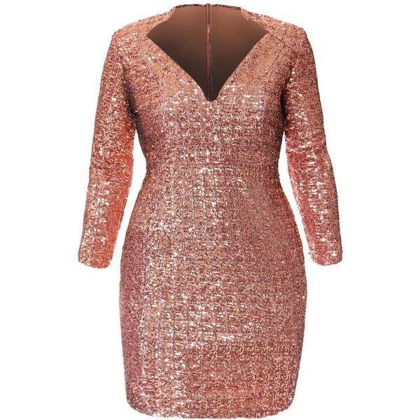 32ea3892486ec Plus Size Regal Sequins Mini Dress
