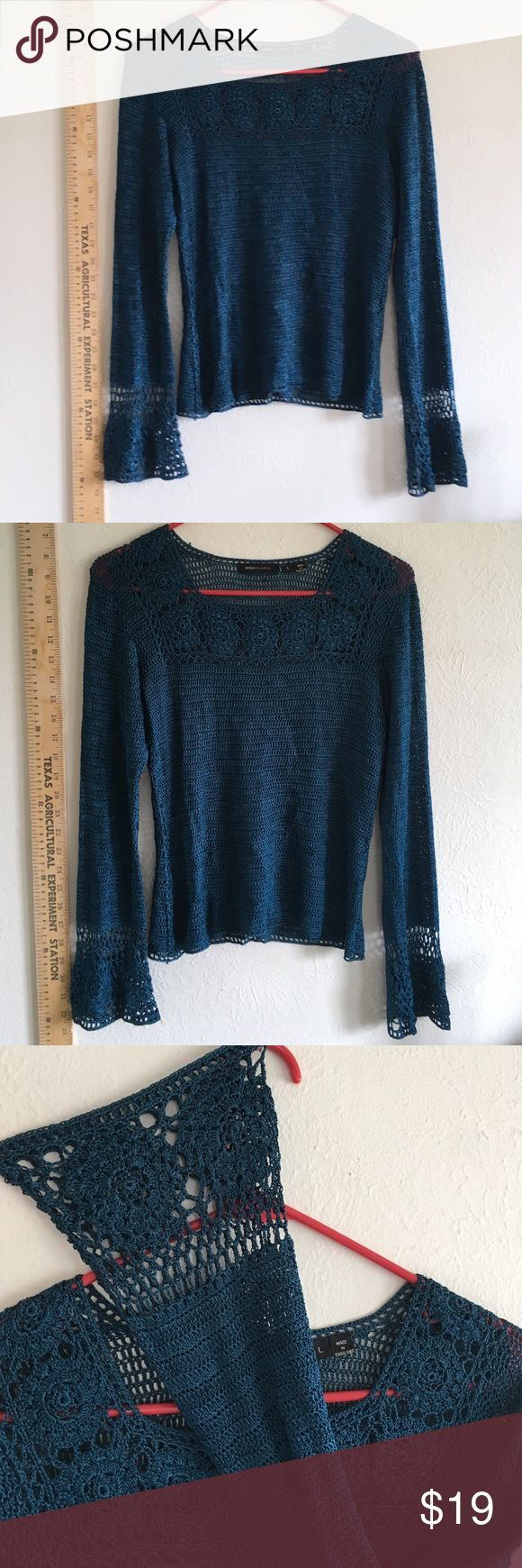 BCBGmaxazria shimmery teal crochet sheer top FAB! Please see photos for measurements. NWOT BCBG maxazria top with gorgeous crochet lace and flowing sleeves. Size large 100% rayon. Never worn . Last photo has white tank under Shirt so that you can see some detail if the crochet ! BCBGMaxAzria Tops Tunics