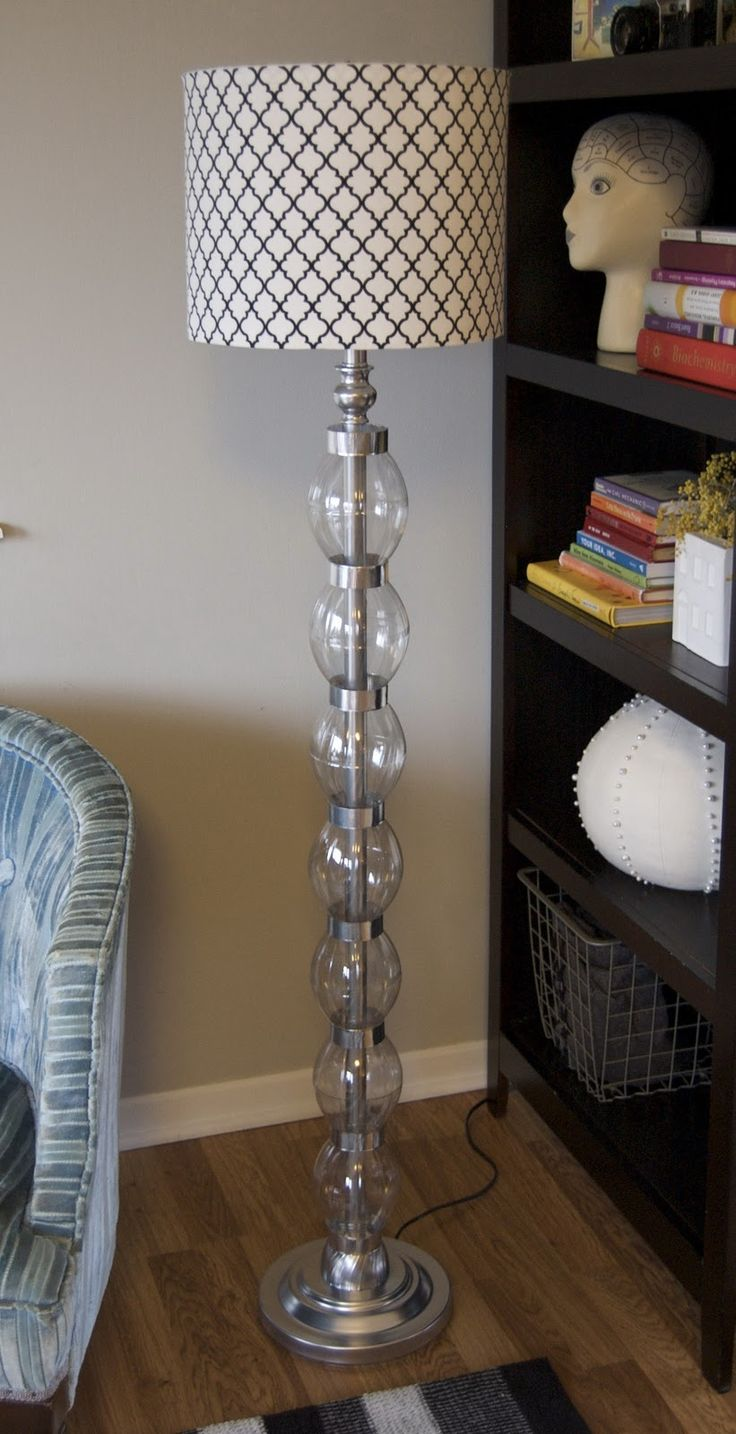 Dress up a boring standing lamp with plastic bottle accents