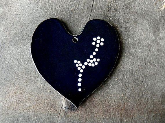 Valentine Gift Black Heart Ceramic Ornaments with White Dots