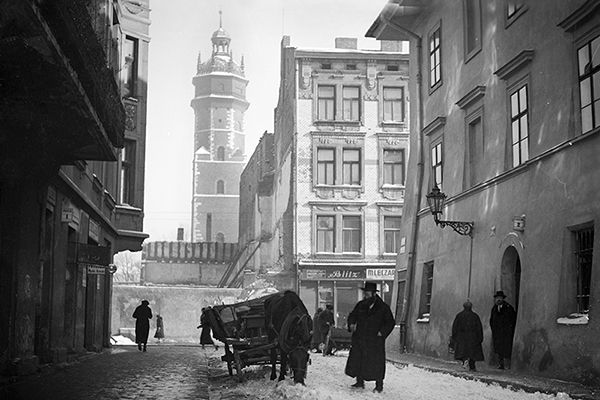 Street in a jewish district in Cracow. Year 1935