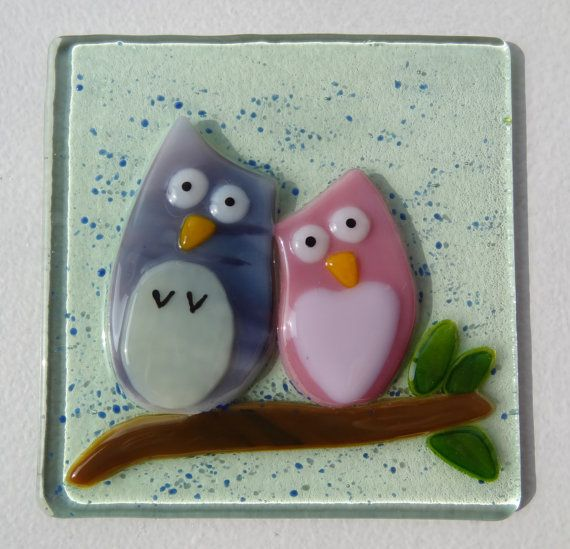 """LAST ONE Cute """"Owl You Need is Love..."""" Fused Glass Ready to Hang Wall Art (15cm x 15cm)"""