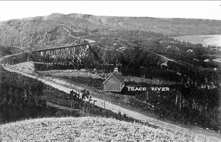 Central Canada Railway arrived at Peace River Landing in 1916.  This is a ca1920 view of the Peace River valley in northern Alberta in 1920.  NAR Heart River trestle.