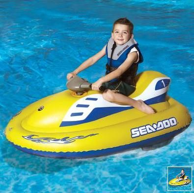 This is the inflatable jet ski that allows a child, but clearly as grown men we would still rip those puppy around the lake, to coast across swimming pools or other calm waters at a safe, maximum speed of 2 mph.