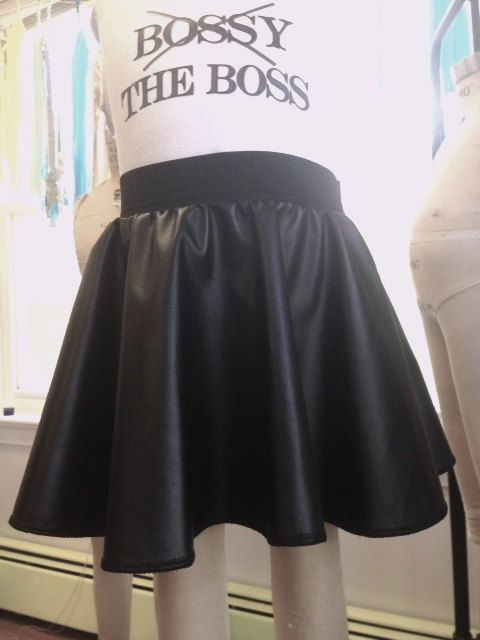 Twirly Faux Leather Skirt for Girls