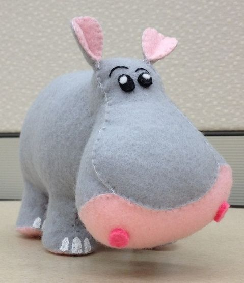 House Hippo Plush by Suie Pfeiffer    Each Hippo Plush is hand-stitched using embroidery floss, eco-friendly felt and poly-fil and made in a non-smoking home.