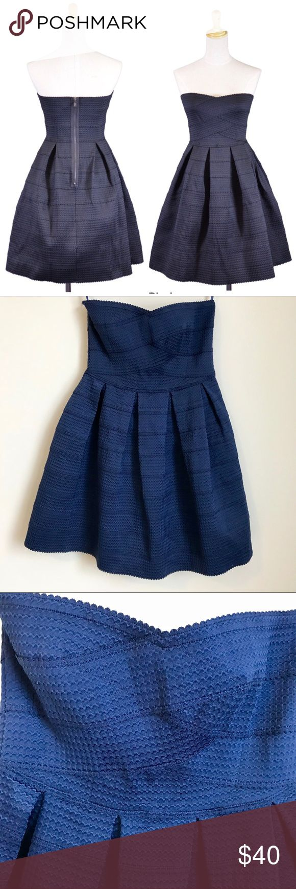 """NEW! Honey Punch Women's Strapless Cocktail Dress Honey Punch Hot Mama fit and flare bandage dress in dark navy blue. Brand new with tags in perfect condition. Zips up back. Very supportive bandage material with some stretch for comfortable and flattering fit. Strapless sweetheart neckline and rubber coating to help dress stay up.  Size medium runs true to size. Perfect wedding guest dress.  Length 29""""  Waist 14"""" across Honey Punch Dresses Mini"""
