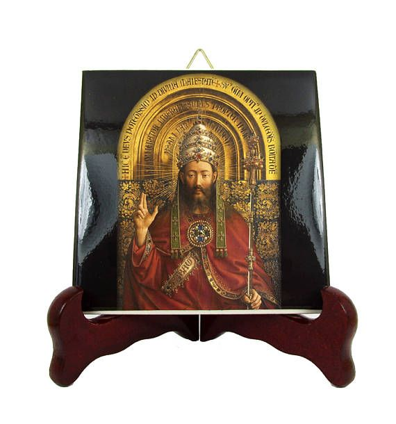 Jesus Christ the King - christian icon on ceramic tile. Now in my Etsy Store: >>> https://www.etsy.com/listing/539519437 <<<  The image was inspired by a panel of the Ghent Altarpiece made between 1430 and 1432 by Jan Van Eick.  #jesus #christ #king #christian #vaneick #religiousart #christianart #tileart #handmade #faith #pray #icons