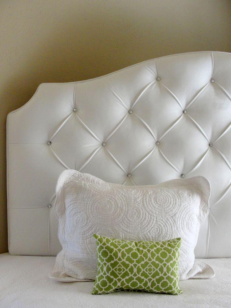 White Velvet Tufted Upholstered Headboard With Crystal