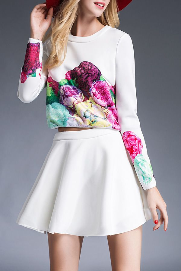 T&c.g White Floral Print T-Shirt And Solid Color High Waist Skirt | Skirts at DEZZAL