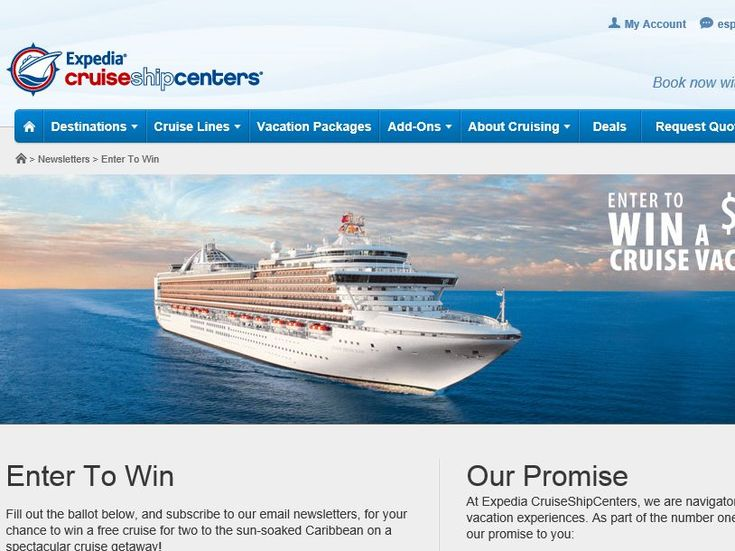 Enter the Expedia Cruise Ship Centers Dream Vacation Contest for a chance to win a 7-night Caribbean Cruise for two!