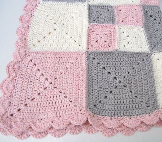 crochet baby blanket, pink organic cotton by BabanCat on Etsy
