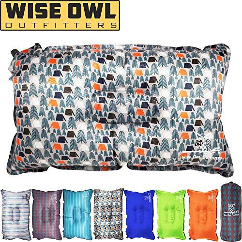 Wise Owl Outfitters Camping Pillow Lightweight Self Inflating Inflatable Foam Air Compact Camp Pillow Best Lumbar Support Travel Airplane Camping Beach Ha Camping Pillows Beach Hammock Travel Pillow
