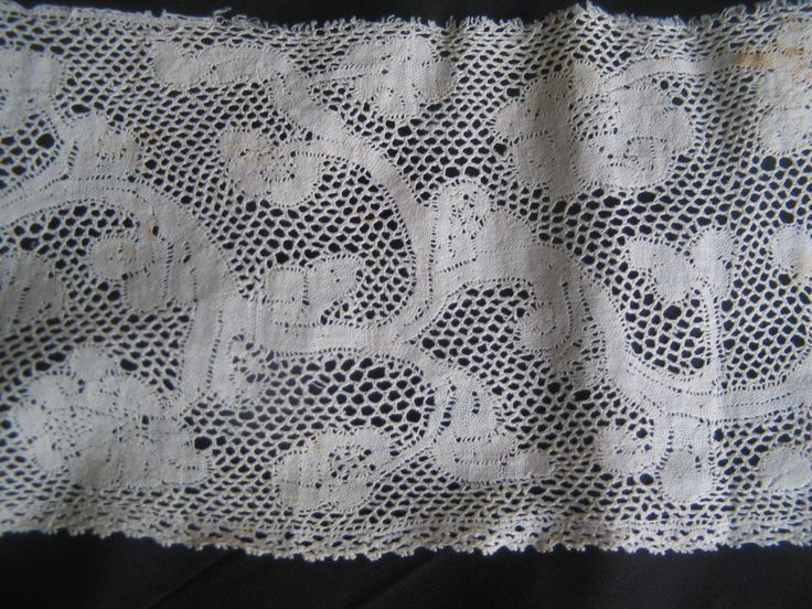 Seller thinks Vintage Antique Handmade 18th Century Milanese Bobbin Lace Flounce 3 Yards. This may be a straight lace, rather than a part lace such as Milanese. possibly last half 17th c.