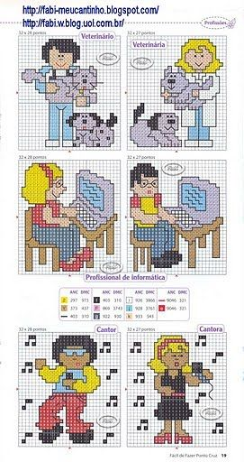 Various people x-stitch