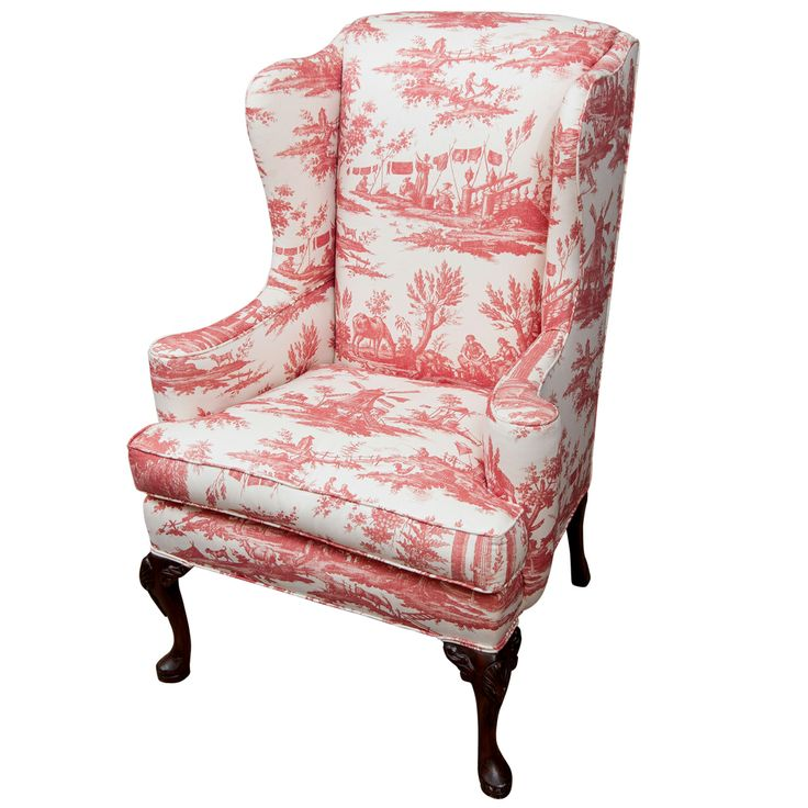 Queen Anne Style Wing Chair in a lovely toile - 34 Best Queen Anne & Early Georgian Furniture Style Images On