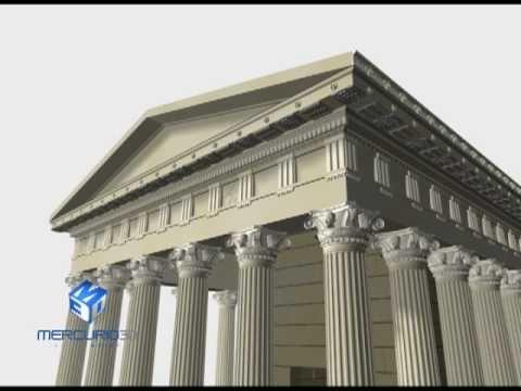 ricostruzione architettonica 3d di un tempio ricavata da planimetrie - per info www.mercurio3d.com