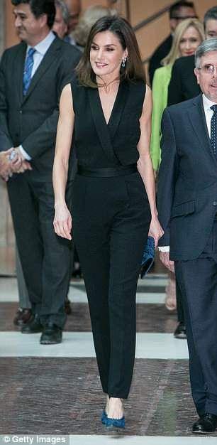 2c29b0f41d5 Queen Letizia of Spain wears a £480 Hugo Boss jumpsuit