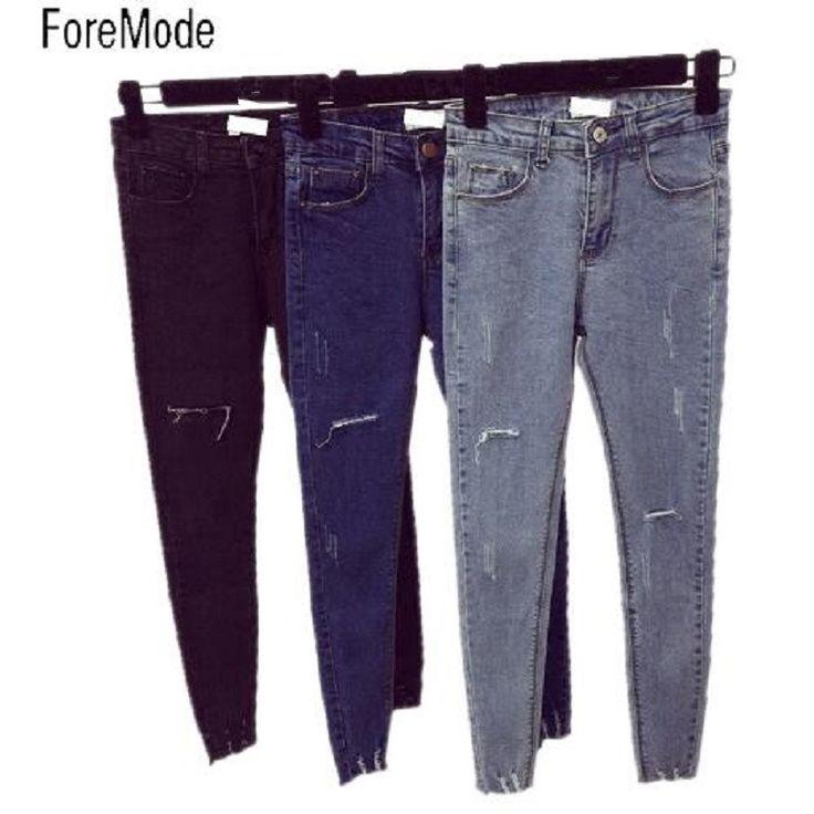 ForeMode Cero Pies Desgastados Vintage Cintura Alta Pantalones Vaqueros Flacos Femeninos Lápiz Pantalones Vaqueros de Las Mujeres 2XL