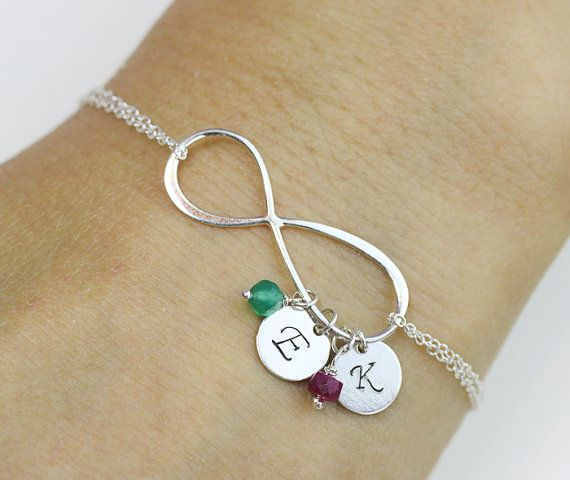 initial infinity Bracelet . two initials, two Birthstone Bracelet .Sterling Silver Infinity Bracelet.