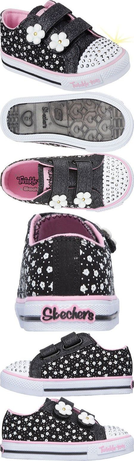 Skechers Infant/Toddler Girls' Twinkle Toes Shuffles Darling Daisy High Top,Blac