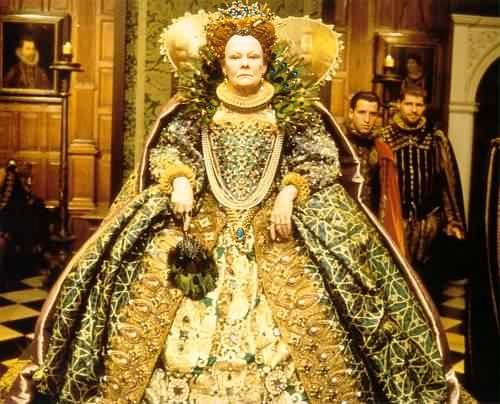 shakespeare in love, amazing gown worn my Judi Dench as Queen Elizabeth I, designed by Sandy Powell