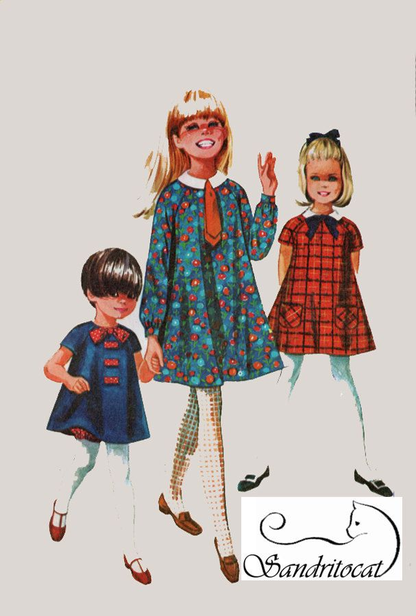 1960s Girls Tent Dress with Bloomers and Tie Simplicity 7331 Vintage 60s Sewing Pattern Size 6 by sandritocat on Etsy