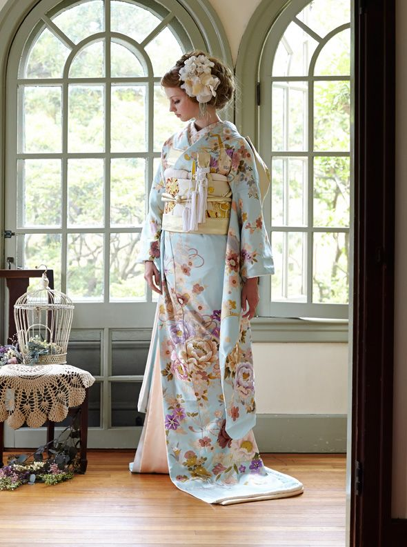 Beautiful Blue Based Peony Hiki Furisode