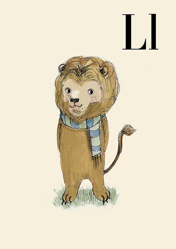 L for Lion 6x8 Alphabet art Alphabet Letters Baby Zoo von holli