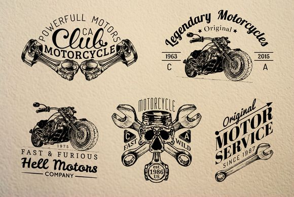 Vintage biker Logos & Badges by Chewie Co on @creativemarket