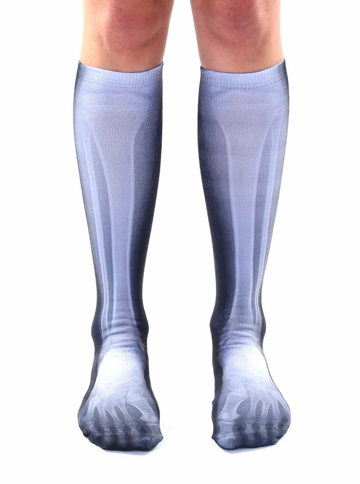 """HAVE FUN IN THESE XRAY PRINT SOCKS! *UNISEX *100% POLYESTER *MADE IN THE USA *ONE SIZE FITS MOST *WOMEN'S SHOE SIZE 4-12 *MENS SHOE SIZE 6-13 *20"""" L X 4"""" W"""