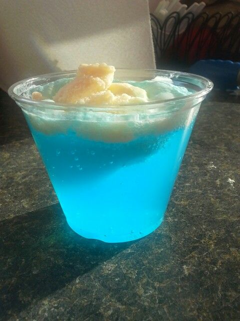 ICEBERG DRINKS -- Perfect for Disney Frozen themed events and birthday parties. Fill 1/3 of the cup with blue Hawaiian Punch, 1/3 with Sprite Zero, and half a scoop of vanilla ice cream. As it melts, blue foam forms! Delicious and fun!