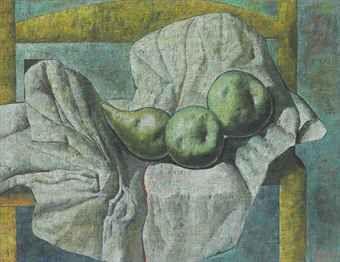 Armando Morales -Bodegón: Pera, dos manzanas, silla amarilla - 1998