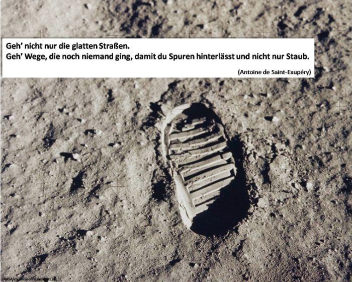 Bildquelle: NASA,  Buzz Aldrins Fußabdruck, Apollo-11-Mission