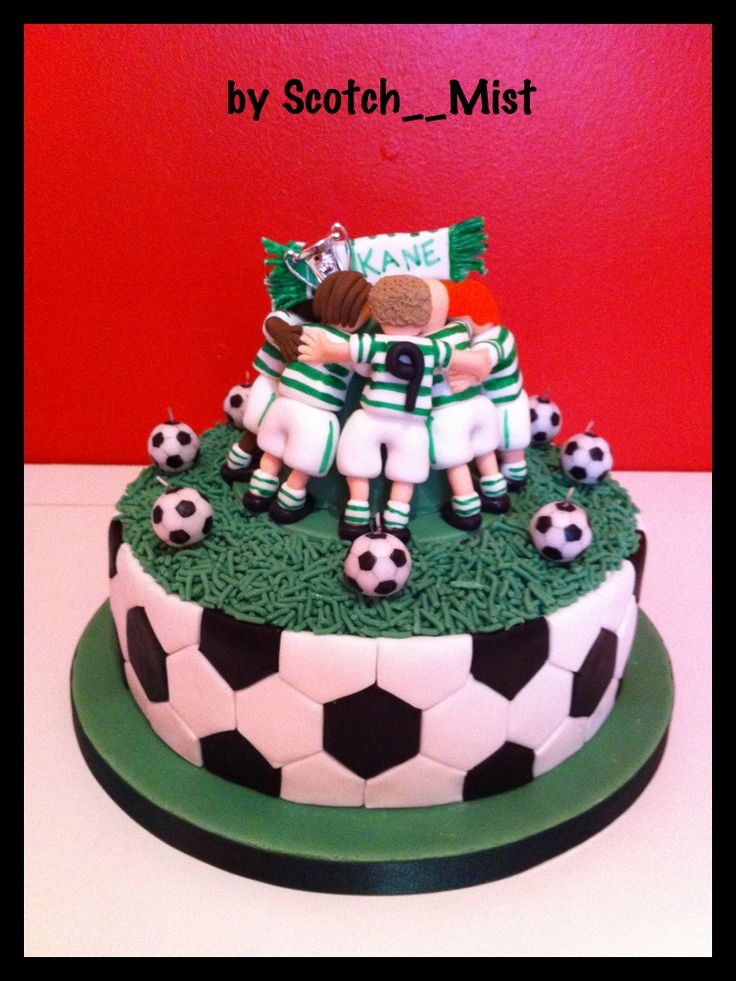 Football Huddle Cake - Made for my 9 year old nephews birthday.  First cake since I found this site and realised you could prepare things in advance!  It really helped.  First time making figures too.  Trophy is plastic and mini footballs are candles, everything else is edible.