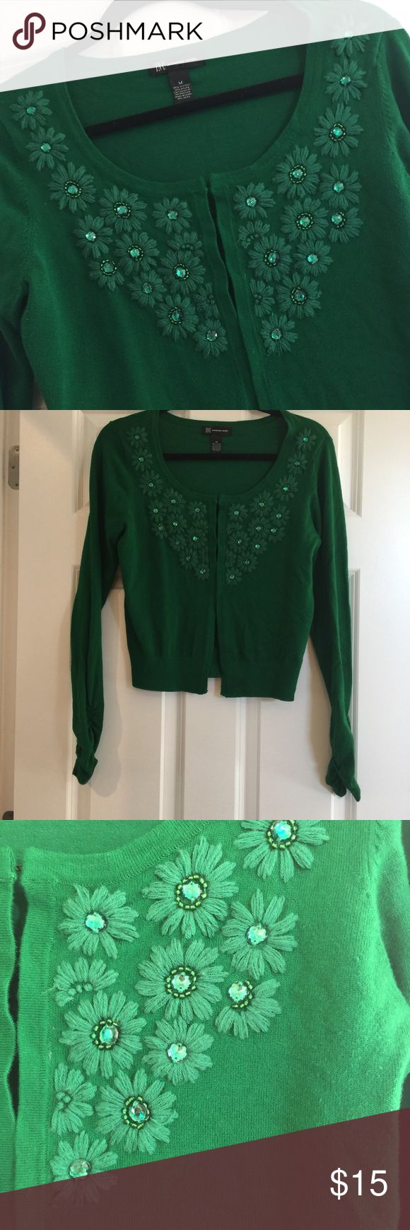 Macy's INC Green Sweater with Flowers long sleeve Super soft and in good condition. Have hook and eyes not buttons or snaps. Details shown in photos. Slimmer fit. No trades. Smoke free home. INC International Concepts Sweaters Cardigans