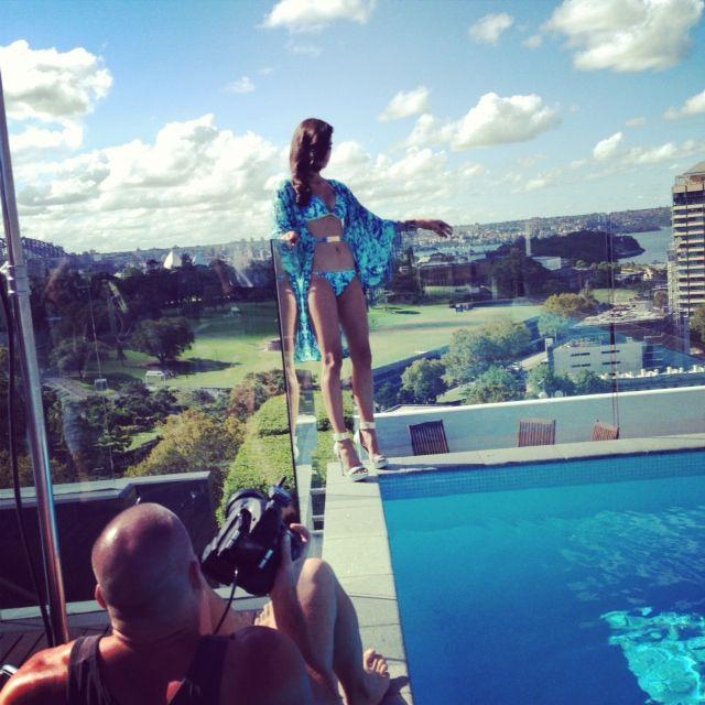 Nicole looks stunning poolside overlooking Sydney in Alchemy